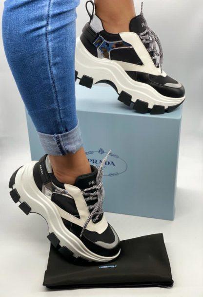 calzado prada mujer negro blanco